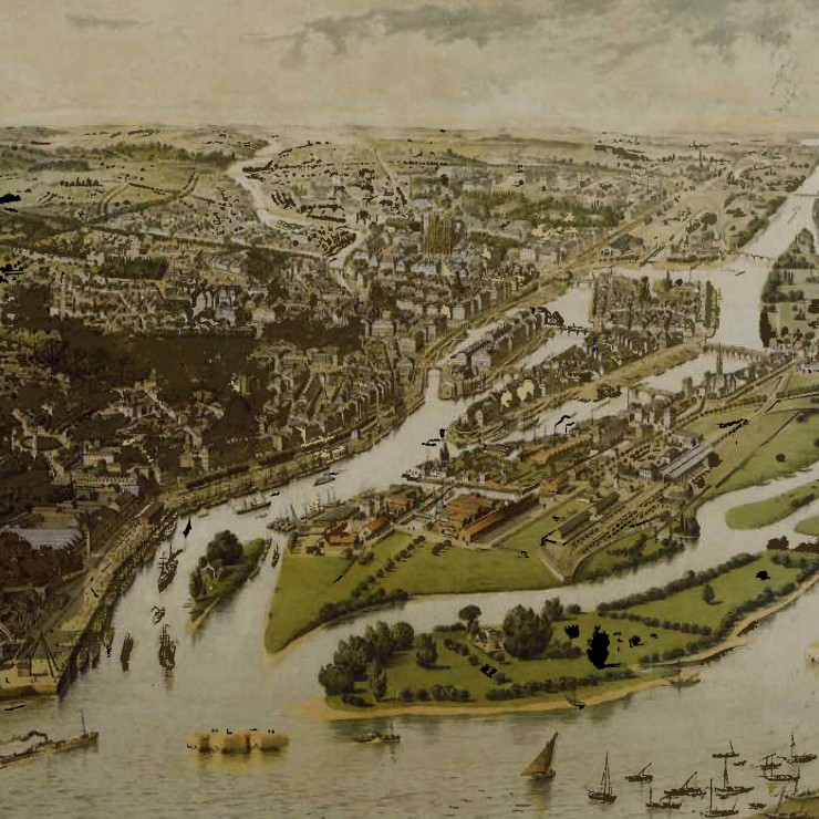 """The Port of Nantes Seen from a Balloon"". Drawing by Hugo Alesi, 1888. ""The Port of Nantes: a 3 000-Year History"", September 2006."