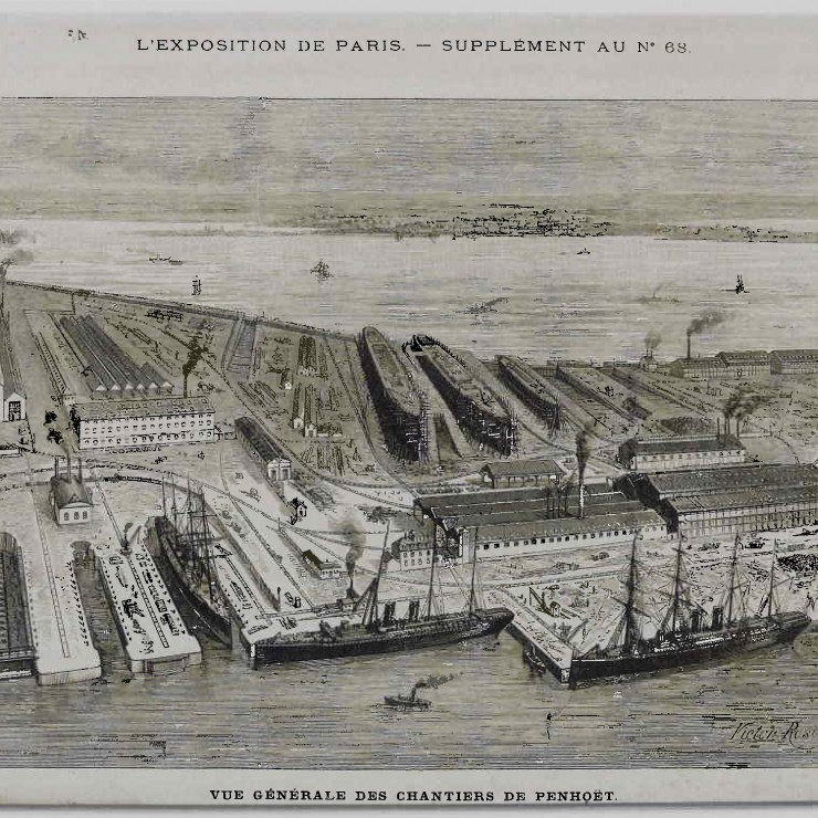"The Penhoët shipyard and workshops in 1885.  ""The Port of Nantes: a 3 000-Year History"", September 2006."